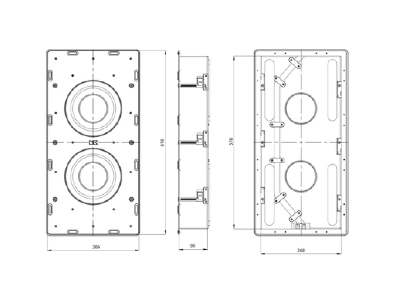M&K SOUND 嵌入式超低音IW28規格圖